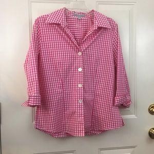 Pink checked 3/4 sleeve Foxworth blouse sz medium